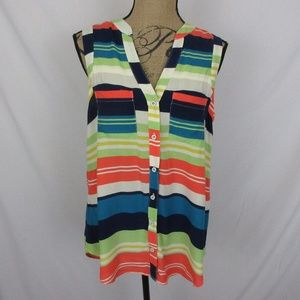 Maeve Antropologie Top Colorful Stripes Rayon